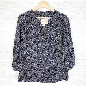 Amour Vert • Navy Blue Print Silk Blouse M